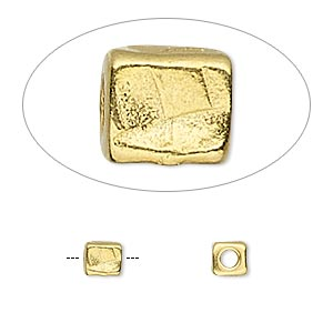 bead, tierracast, gold-plated pewter (tin-based alloy), 5x5mm textured cube with 2mm hole. sold per pkg of 4.