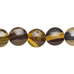 bead, tiger iron and tiger zebra iron (natural), 12mm puffed flat round, b grade, mohs hardness 7. sold per 8-inch strand, approximately 15 beads.
