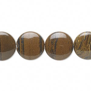 bead, tiger iron (natural), 14mm flat round, b grade, mohs hardness 7. sold per 16-inch strand.