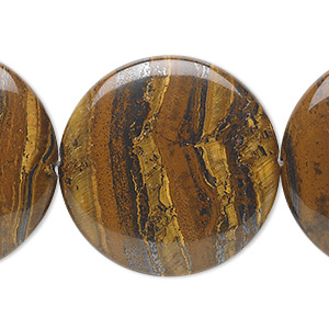 bead, tiger iron (natural), 30mm flat round, b grade, mohs hardness 7. sold per 16-inch strand.
