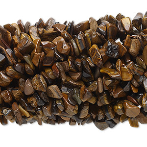 bead, tigereye (heated), medium chip with 0.5-1.5mm hole, mohs hardness 7. sold per pkg of (10) 34-inch strands.