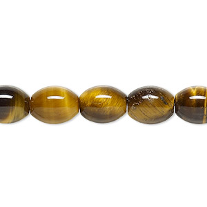 bead, tigereye (natural), 10x8mm oval, b grade, mohs hardness 7. sold per 16-inch strand.