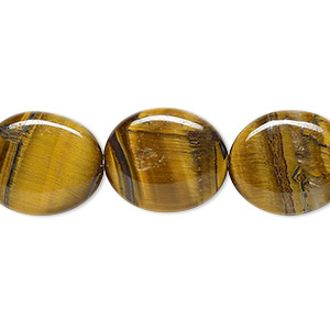 bead, tigereye (natural), 16x14mm flat oval, b grade, mohs hardness 7. sold per 16-inch strand.
