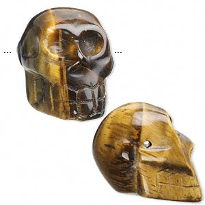 bead, tigereye (natural), 25x21mm hand-cut skull, c grade, mohs hardness 7. sold per pkg of 2.