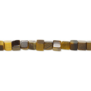 bead, tigereye (natural), 4x4mm cube, b grade, mohs hardness 7. sold per 16-inch strand.