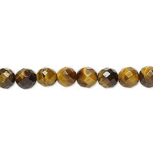 bead, tigereye (natural), 6mm faceted round, b grade, mohs hardness 7. sold per 16-inch strand.