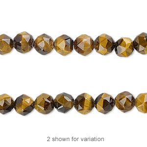 bead, tigereye (natural), 6mm rose-cut round with 0.5-1.5mm hole, b grade, mohs hardness 7. sold per 8-inch strand, approximately 30 beads.