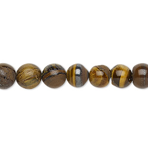 bead, tigereye (natural), 7-8mm hand-cut round, d grade, mohs hardness 7. sold per 13-inch strand.