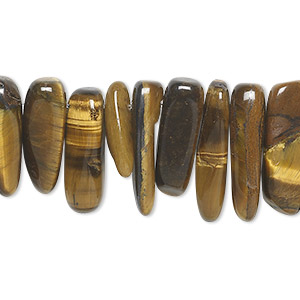 bead, tigereye (natural), extra-large top-drilled hawaiian chip, mohs hardness 7. sold per 16-inch strand.
