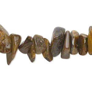 bead, tigereye (natural), large chip, mohs hardness 7. sold per 15-inch strand.