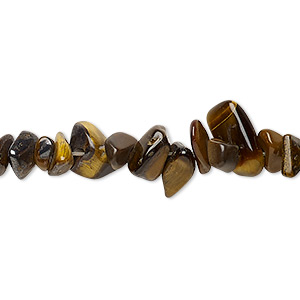 bead, tigereye (natural), medium chip, mohs hardness 7. sold per 16-inch strand.