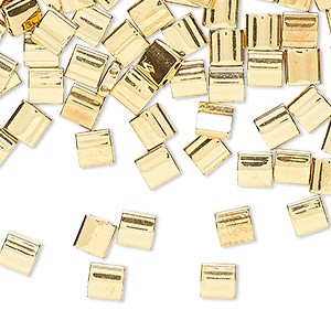 bead, tila, glass, metallic 24kt gold finish, (tl191), 5mm square with (2) 0.8mm holes. sold per 250-gram pkg.