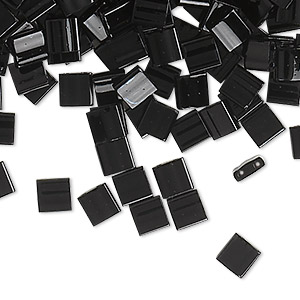 bead, tila, glass, opaque black, (tl401), 5mm square with (2) 0.8mm holes. sold per 10-gram pkg.