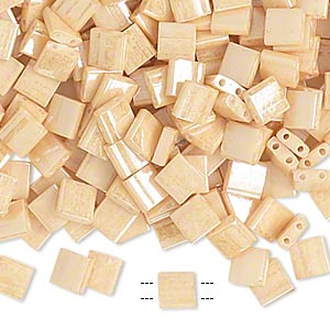 bead, tila, glass, opaque ceylon light caramel, (tl593), 5mm square with (2) 0.8mm holes. sold per 250-gram pkg.