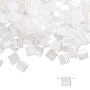 bead, tila, glass, opaque ceylon pearl white, (tl511), 5mm square with (2) 0.8mm holes. sold per 10-gram pkg.