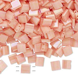 bead, tila, glass, opaque luster rainbow light peach, (tl596), 5mm square with (2) 0.8mm holes. sold per 10-gram pkg.