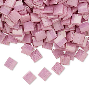 bead, tila, glass, opaque luster rose, (tl599), 5mm square with (2) 0.8mm holes. sold per 40-gram pkg.