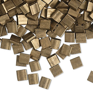 bead, tila, glass, opaque matte metallic dark bronze, (tl2006), 5mm square with (2) 0.8mm holes. sold per 10-gram pkg.