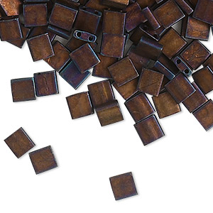 bead, tila, glass, opaque matte metallic dark raspberry, (tl2005), 5mm square with (2) 0.8mm holes. sold per 40-gram pkg.