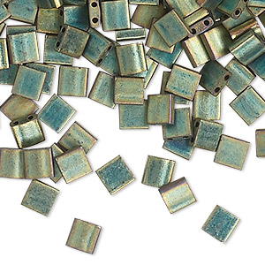 bead, tila, glass, opaque matte metallic patina iris green, (tl2008), 5mm square with (2) 0.8mm holes. sold per 40-gram pkg.