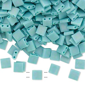 bead, tila, glass, opaque matte rainbow mint green, (tl412fr), 5mm square with (2) 0.8mm holes. sold per 40-gram pkg.