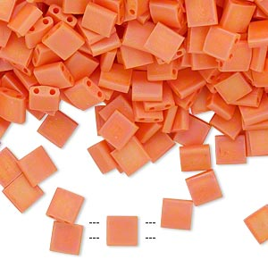 bead, tila, glass, opaque matte rainbow orange, (tl406fr), 5mm square with (2) 0.8mm holes. sold per 10-gram pkg.