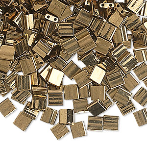 bead, tila, glass, opaque metallic dark bronze, (tl457), 5mm square with (2) 0.8mm holes. sold per 250-gram pkg.
