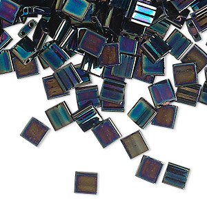 bead, tila, glass, opaque metallic iris blue, (tl455), 5mm square with (2) 0.8mm holes. sold per 40-gram pkg.