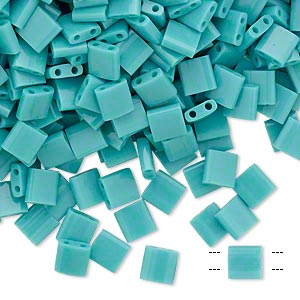 bead, tila, glass, opaque mint green, (tl412), 5mm square with (2) 0.8mm holes. sold per 250-gram pkg.