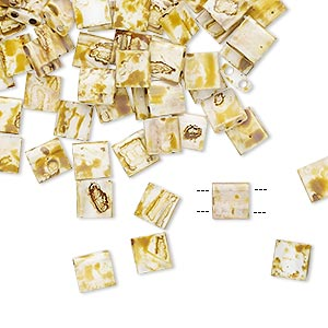 bead, tila, glass, opaque picasso antique white, (tl4512), 5mm square with (2) 0.8mm holes. sold per 40-gram pkg.