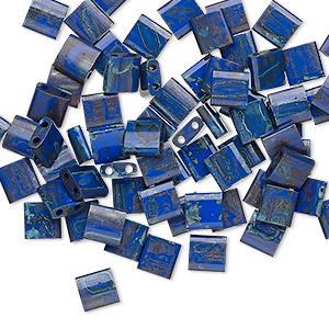bead, tila, glass, opaque picasso cobalt, (tl4518), 5mm square with (2) 0.8mm holes. sold per 250-gram pkg.