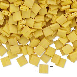 bead, tila, glass, opaque satin matte rich yellow, (tl2311), 5mm square with (2) 0.8mm holes. sold per 10-gram pkg.