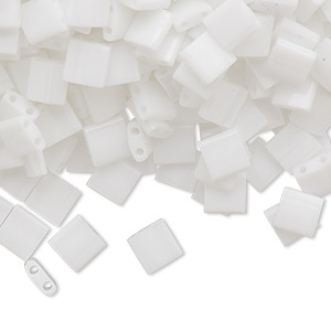 bead, tila, glass, opaque white, (tl402), 5mm square with (2) 0.8mm holes. sold per 40-gram pkg.
