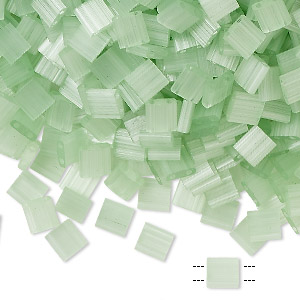 bead, tila, glass, translucent silk luster mint green, (tl2559), 5mm square with (2) 0.8mm holes. sold per 10-gram pkg.