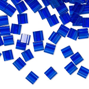 bead, tila, glass, transparent blueberry, (tl151), 5mm square with (2) 0.8mm holes. sold per 40-gram pkg.
