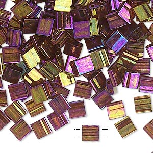 bead, tila, glass, transparent luster rainbow dark topaz gold, (tl301), 5mm square with (2) 0.8mm holes. sold per 10-gram pkg.