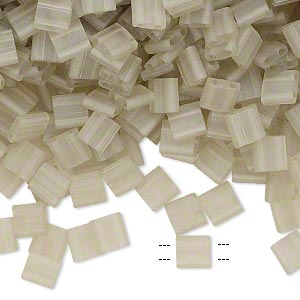 bead, tila, glass, transparent matte luster oyster, (tl3173), 5mm square with (2) 0.8mm holes. sold per 40-gram pkg.