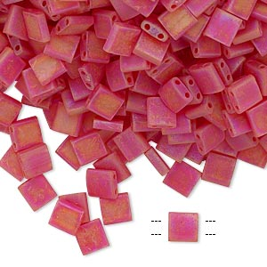 bead, tila, glass, transparent matte rainbow light fire red, (tl140fr), 5mm square with (2) 0.8mm holes. sold per 250-gram pkg.