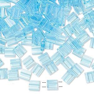 bead, tila, glass, transparent powder blue, (tl148), 5mm square with (2) 0.8mm holes. sold per 10-gram pkg.