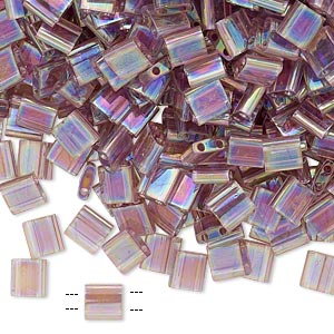 bead, tila, glass, transparent rainbow light amethyst, (tl256), 5mm square with (2) 0.8mm holes. sold per 10-gram pkg.