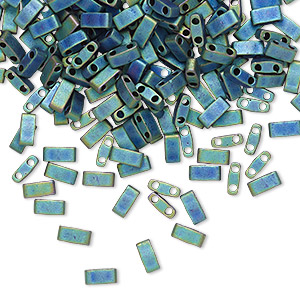 bead, tila, half tila, glass, opaque matte metallic iris blue, (htl2064), 5x2.3mm rectangle with (2) 0.8mm holes. sold per 10-gram pkg.