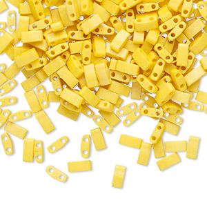 bead, tila, half tila, glass, opaque matte satin rich yellow, (htl2311), 5x2.3mm rectangle with (2) 0.8mm holes. sold per 40-gram pkg.
