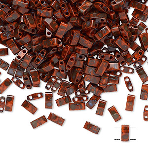 bead, tila, half tila, glass, opaque picasso red, (htl4520), 5x2.3mm rectangle with (2) 0.8mm holes. sold per 10-gram pkg.