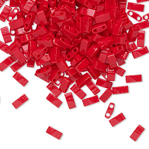 bead, tila, half tila, glass, opaque red, (htl408), 5x2.3mm rectangle with (2) 0.8mm holes. sold per 10-gram pkg.