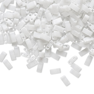 bead, tila, half tila, glass, opaque white, (htl402), 5x2.3mm rectangle with (2) 0.8mm holes. sold per 250-gram pkg.