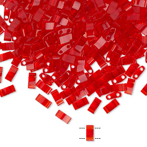 bead, tila, half tila, glass, transparent light fire red, (htl140), 5x2.3mm rectangle with (2) 0.8mm holes. sold per 40-gram pkg.