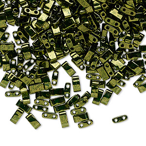bead, tila, half tila, glass, transparent luster olive green, (htl306), 5x2.3mm rectangle with (2) 0.8mm holes. sold per 10-gram pkg.