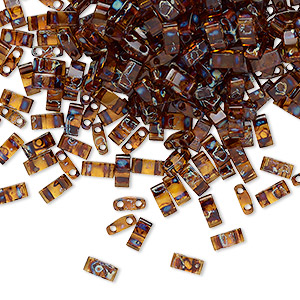 bead, tila, half tila, glass, transparent picasso amber brown, (htl4502), 5x2.3mm rectangle with (2) 0.8mm holes. sold per 250-gram pkg.