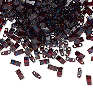 bead, tila, half tila, glass, transparent picasso red, (htl4504), 5x2.3mm rectangle with (2) 0.8mm holes. sold per 250-gram pkg.