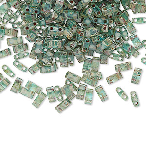 bead, tila, half tila, glass, transparent picasso turquoise blue, (htl4506), 5x2.3mm rectangle with (2) 0.8mm holes. sold per 40-gram pkg.